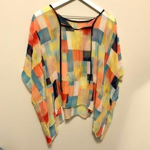 Sheer Multicolor Asymmetrical Hem Oversized Top XL